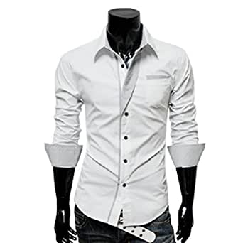 Zehui Mens Long Sleeve Casual Slim Fit Front Button Dress Shirts White Tag XXL