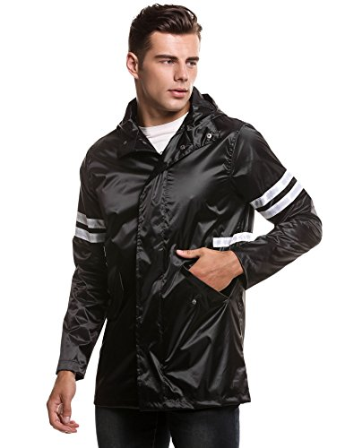 COOFANDY herren Jacke regenjacke übergangsjacke mit kapuzen Frühling modern lang Schwarz