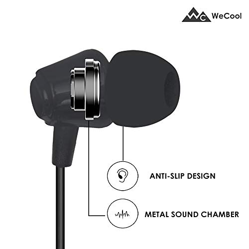 WeCool Snug Fit Wired Earphone W001 (Black) Dynamic Crystal Clear Sound for Music and Calls with Mic and MFB Controller (3.5 mm Aux)