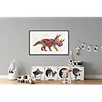 PAULROMMER Poster Dinosaurio,Dinosaur,Dinosaurier,dinosaure in Watercolor Diabloceratops Lienzo Enrollado DIN A3