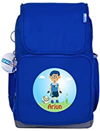UniQBees Personalised School Bag With Name (Smart Kids Large School Backpack-Blue-Football 1)