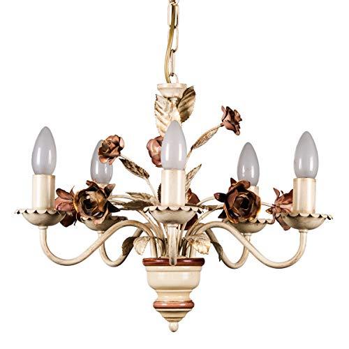 Helios Leuchten 203581 Florentiner Pendelleuchte Pendellampe | Blüten Hängelampe | Lampe Leuchte Kronleuchter Landhausstil | 5 x E14 -
