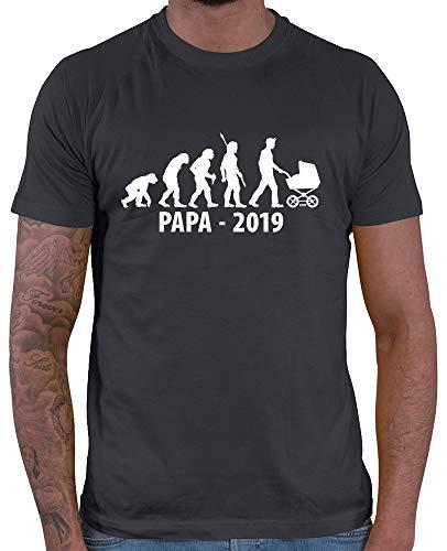 HARIZ  Herren T-Shirt Papa Evolution 2019 Papa Geschenk Baby Weihnachten Plus Geschenkkarte Dunkel Grau M