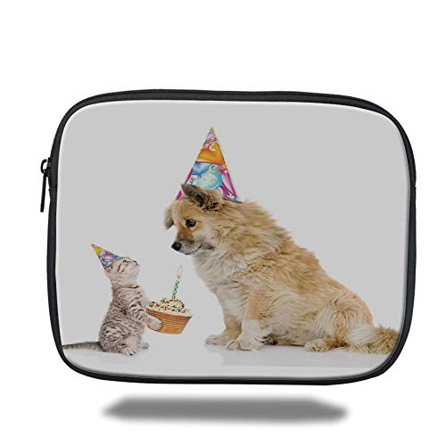 Tablet Bag for Ipad air 2/3/4/mini 9.7 inch,Birthday Decorations for Kids,Cat and Dog Human Best Friend Party with Cupcake and Candle,Multicolor,Bag Beste Cupcake