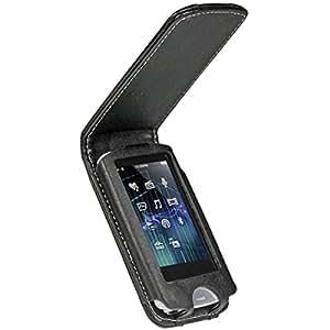 iGadgitz Black Genuine Leather Case Cover for Sony Walkman NWZ-A865 Series Video MP3 Player (NWZ-A865B, NWZ-A865W)