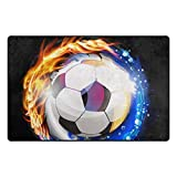 YYERINX Ice Fire Soccer Polyester Entry Way Doormat Floor Mats Area Rug Multipattern Door Mat Shoes Scraper Home Dec Anti-Slip Indoor/Outdoor