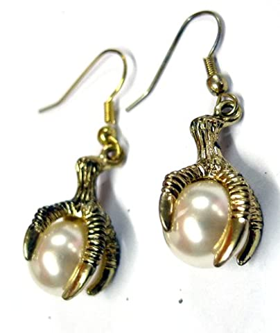 LV11 Vintage Eagle Claw Pearl Earring Drops Gothic Boho