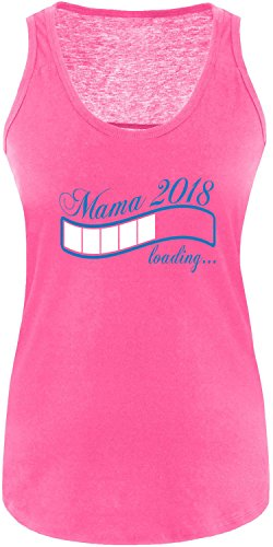 EZYshirt® Mama 2018 Damen Tanktop Fuchsia/Blau/Weiss