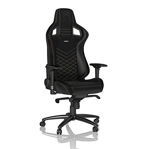 noblechairs Epic Gaming Stuhl - Bürostuhl - Schreibtischstuhl - PU-Kunstleder - Inklusive Kissen - Schwarz/Gold