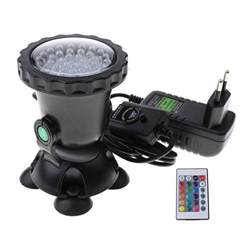 MagiDeal LED Unterwasserlicht RGB Farbwechsel Unterwasserleuchte Unterwasserbeleuchtung Unterwasser Strahler Teichbeleuchtung mit 24 Key Fernbedienung für Garten, Aquarium, Badewanne, Schwimmbad, Teich