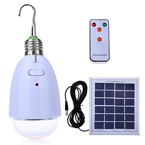 PRODELI LED Solar Birne Hanging E27 Base 12 LED Dimmable Licht Outdoor Multifunktions Solar Panel mit Fernbedienung für Camping Wandern Home Notbeleuchtung angetrieben