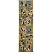 Maxy Home contemporáneo cajas con diseño de flores marfil marrón beige negro azul área alfombra & Pasha colección