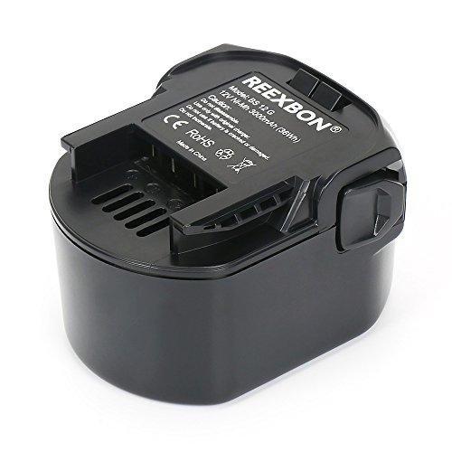 REEXBON AEG 12V 3.0Ah NIMH Remplacement Batterie pour AEG BS 12 G, BS 12C, BS 12C2, BSB 12 G, BSB 12 STX, BSB12STX, BSS 12 RW, 4932 3525 32, 4932 3996 96