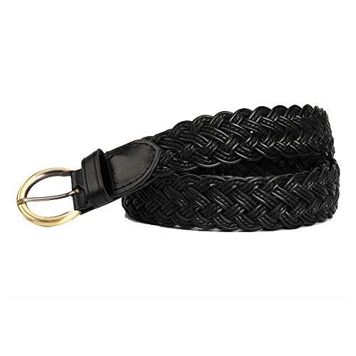 Junjiagao Damengürtel geflochten elastisch gewebt Stretchgürtel Leder einfarbig Kupfer Schnalle (Farbe : Schwarz)