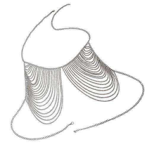 IPOTCH Luxus Mehrschichtig Quaste Retromode Frauen Ketten-BH Körperkette mit Kristall für Karneval- Silber