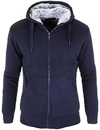 Jacke Sweatjacke Herren Hoodie Gefüttert Kapuze Schwarz Grau Winter Japan Style