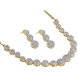Zeneme American Diamond Traditional Fashion Jewellery Necklace Pendant Set with Earring for Women/Girls