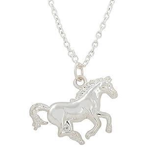 Halskette mit Pferdeanhänger Pferd, rhodiniert, für Teenager und Kleine Jungen, Geschenk