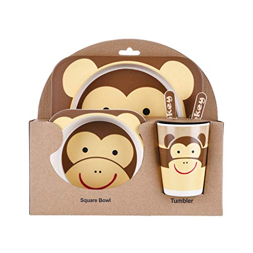 Mengonee Kinder-Geschirr-Set 5er Baby-Bambusfaser-Cartoon Bowl Tier Geschirr Set Kleinkind-Cup-Löffel-Gabel