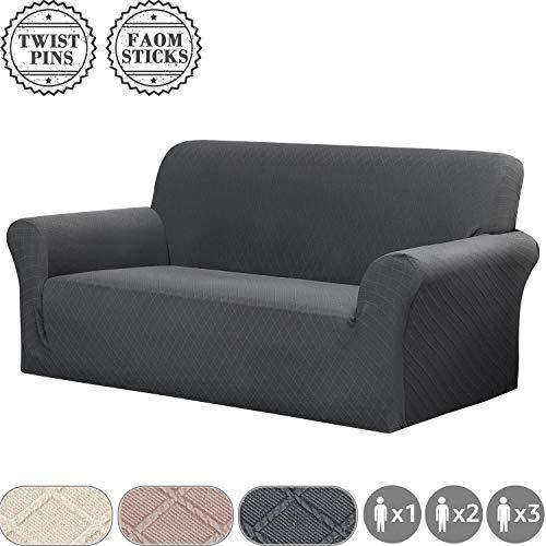 Yisun jacquard copridivano elasticizzati per 1/2/3 posti divano con braccioli e schienale, fodera in lycra testurizzata a griglia, spille per attorcigliate, lavabile (2 posti/divano, grigio)