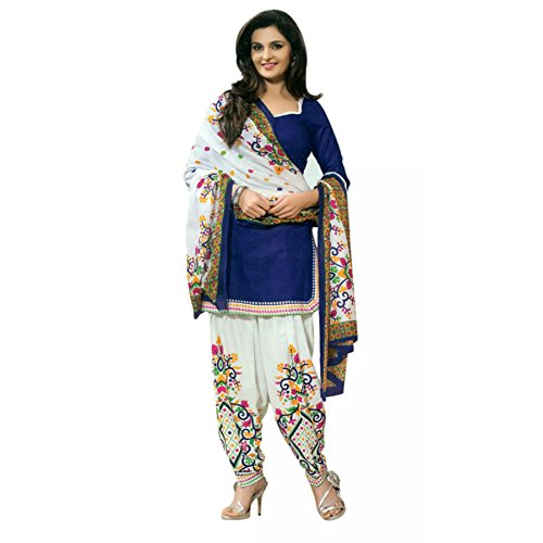 Fashioniests Women's Blue Color Printed Patiala Suit