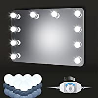 Luces LED Para Espejo de Estilo Hollywood con 10 Bombillas LEDs de 6500k, Kit De Luces de IP65 Para Maquillaje Cosmético, Lámpara de Espejo Regulable, Espejo No Incluido