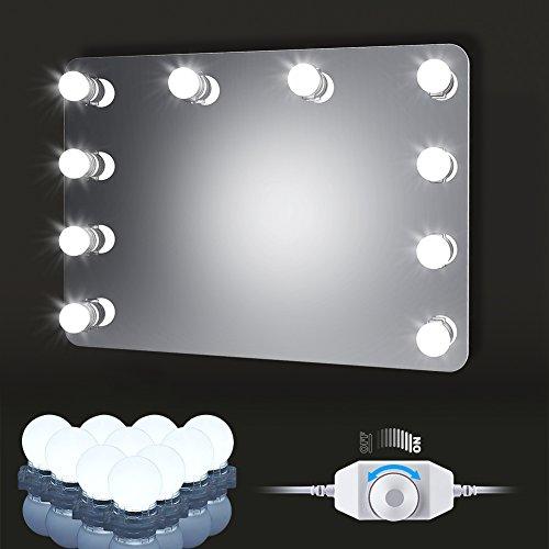 LED Spiegelleuchte Hollywood Kosmetikspiegel Kit, Schminktisch 10 Licht Dimmbare Kugellampe 6000K Kaltweiß Beleuchtung LED...