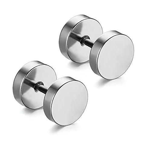 Aooaz Schmuck 1 Paare / 2 Stück Creole Ohrringe 4mm Edelstahl Allergiefrei Silber Runde Ohrstecker Ohrringe für Damen und Herren Frauen Männer