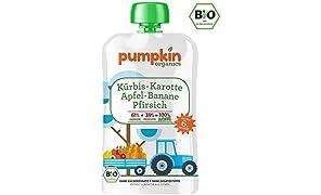 Pumpkin Organics WONNE Bio Gemüse Quetschies aus Kürbis, Karotte mit Apfel, Banane und Pfirsich (30 x 100g) I Babynahrung ab dem 6. Monat