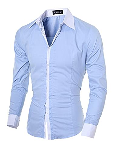 DD.UP Business Plain Solid Color Cotton Casual Slim Fit Chemise À Manches Longues Dress Shirt Hommes