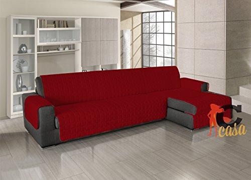 Salvadivano copridivano trapuntato per divani con penisola in tinta unita 190-195 cm rosso