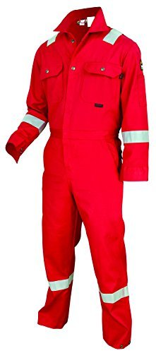 MCR Safety DC1RR52T Dlx Contractor Flame Resistant (FR) Coveralls w/ Reflective Tape, Red, Size 52 Tall, Chest 52-Inch, Waist 48-Inch, Inseam 32-Inch by MCR Safety (Tool Chest 48)