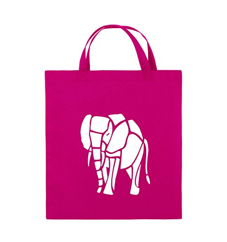 Comedy Bags - ELEFANT - Jutebeutel - kurze Henkel - 38x42cm - Farbe: Schwarz / Pink Pink / Weiss