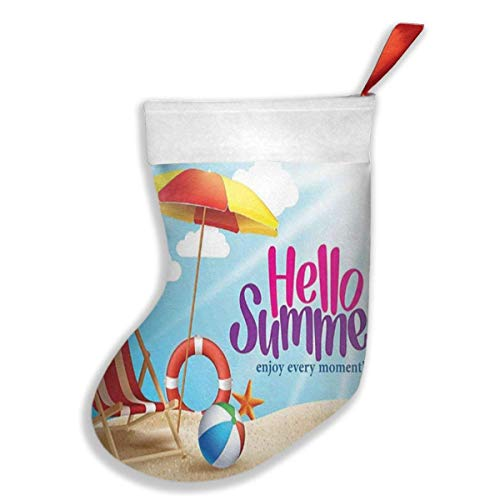 Hello Summer Enjoy Every Moment Quote With Sandy Beach Umbrella Holiday Design Christmas Stockings, Socks For Family Holiday Xmas Party Decorations, Christmas Tree Hanging Toys, Candy Gift Bag Holders