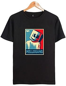 SIMYJOY Pareja DJ Marshmello Fans Manga Corta Sonido Eléctrico T-Shirt Cool Camiseta Para Hombre Mujer Adolescentes