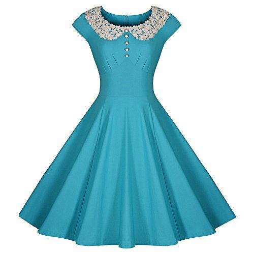 Dabag -Charmant pure couleur Doll Col dentelle manche courtes genou longueur mince taille grande robe Swing (S, Noir) Bleu