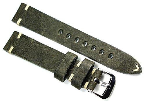 RIOS 1931 18mm Herren Leder Deutsch Uhrenarmband Pilot Vintage Olive Grün (Olive Uhrenarmband Leder)