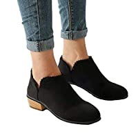 Ankle Boots Women Suede Block Heel Booties Low Flat Lace Winter Walking Shoes Espadrille Slip On Pointed Toe Short Boots Elegant