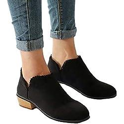 Botines Mujer Invierno Bloque Tacones Botas de Tobillo para Dama Moda Casual Elegante Zapatos Punta Redonda Negro Azul Rosado 35-43 BK41