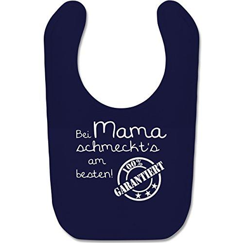 Sprüche Baby - Bei Mama schmeckt's am besten - Unisize - Navy Blau - BZ12 - Baby Lätzchen Baumwolle