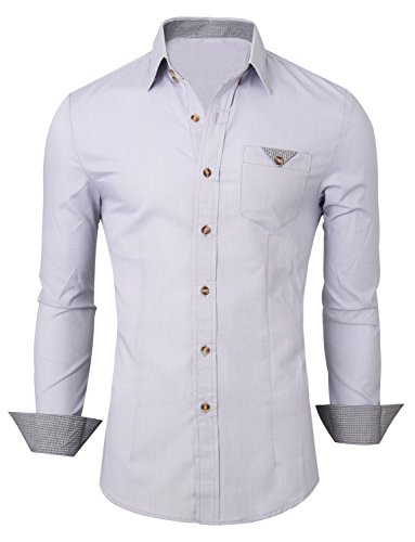 HRYfashion - Chemise casual - Col À Boutons - Manches Longues - Homme Gris