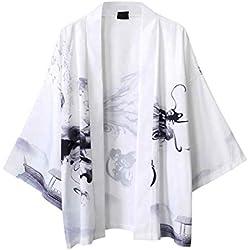 SoonerQuicker Camisa de Hombre Blusa con Mangas japonesas de Cinco Puntos de Kimono para Hombre y para Mujer T Shirt tee Blusa(Blanco L)