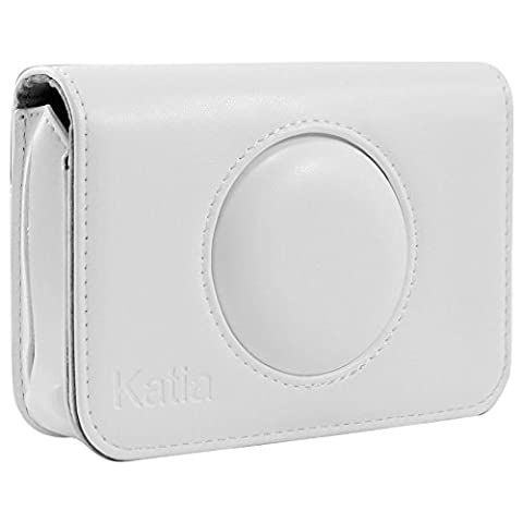Katia PU Leather Case with Pocket for Polaroid Snap Instant Print Digital Camera (White)