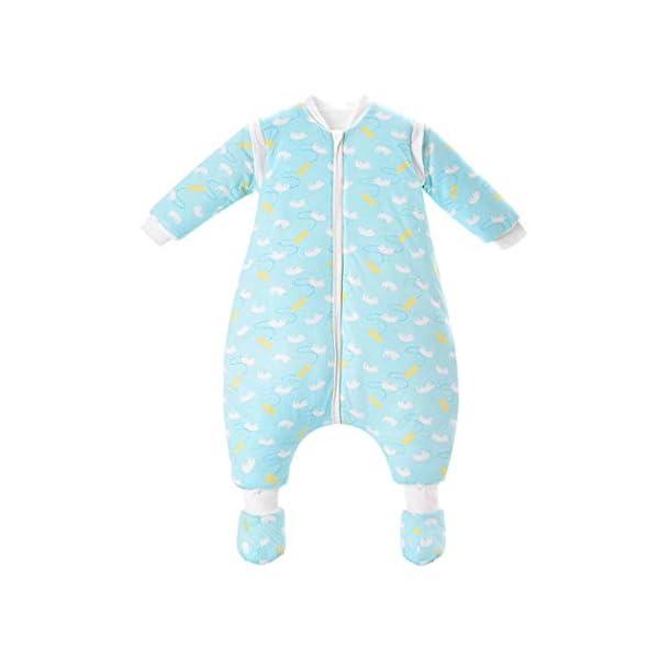 AIKSSOO Saco de Dormir para Bebé de Invierno Algodón Acolchado con Pierna Partida Desmontable de Manga Larga, Aprox. 3.5 TOG