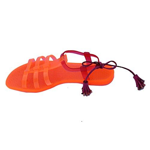Juicy Couture punta-Post in sandali, taglia 3 -  3,5 DA £78 (UV Orange-Dragon Fruit)