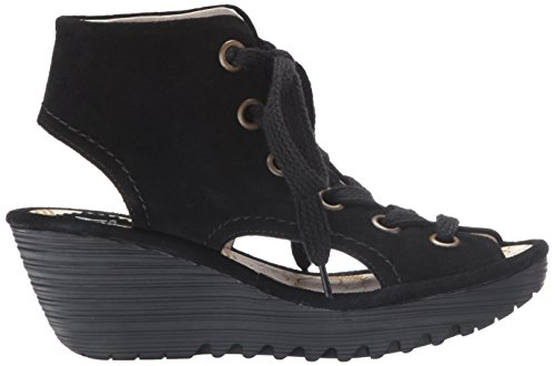 Fly London Womens Yaba 702 Suede Sandals Noir