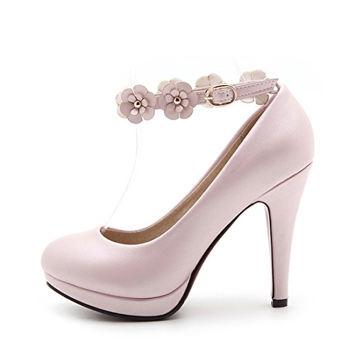YE Damen Elegant High Heels Ankle Strap Runde Geschlossen Pumps mit Plateau und Blumen Schnalle Kleid Schuhe Rosa