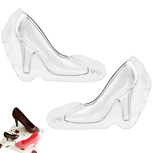 WENTS Schokolade High Heels 2PCS DIY High Heel Schuh 3D-Kunststoff-Form Schokoladenform Süßigkeit Kuchen Gelee Form Hochzeit Dekoration DIY (Clear)