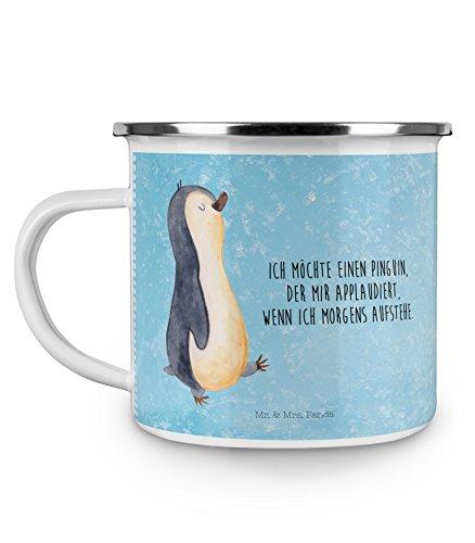 Mr. & Mrs. Panda Emaille Tasse Pinguin marschierend - 100% handmade in Norddeutschland - Frühaufsteher, Tasse, Bruder, Familie , Langschläfer, Emaille Tasse, , Kaffeebecher, Pinguin, Kaffeetasse, Becher, Camping