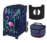 Zuca Sporttasche - Flamingo mit Geschenk, Sitzbezug und Midnight Lunchbox, Marineblau